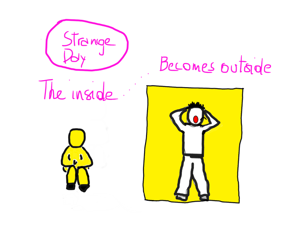 "Drawing of two basic human figures. The first is sitting in the floor, hugging its legs. The inside of its body is yellow. The second is standing, clutching its hair, screaming, encased in a rectangle. The inside of its body is white, the outside is all yellow. Caption: ""Strange Day. The inside... becomes outside."""
