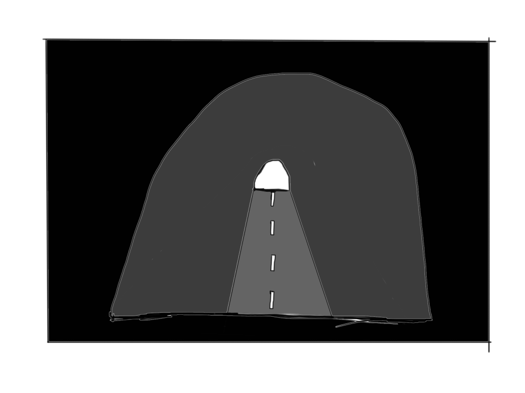 Cartoonish representation of the on of the tunnel.