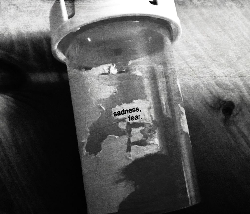 "Black and white close up of a standard USA medication bottle resting on a wooden table (grain visible). The label has been scratched off except for ""sadness, fear.""  Hight contrast, some distress."